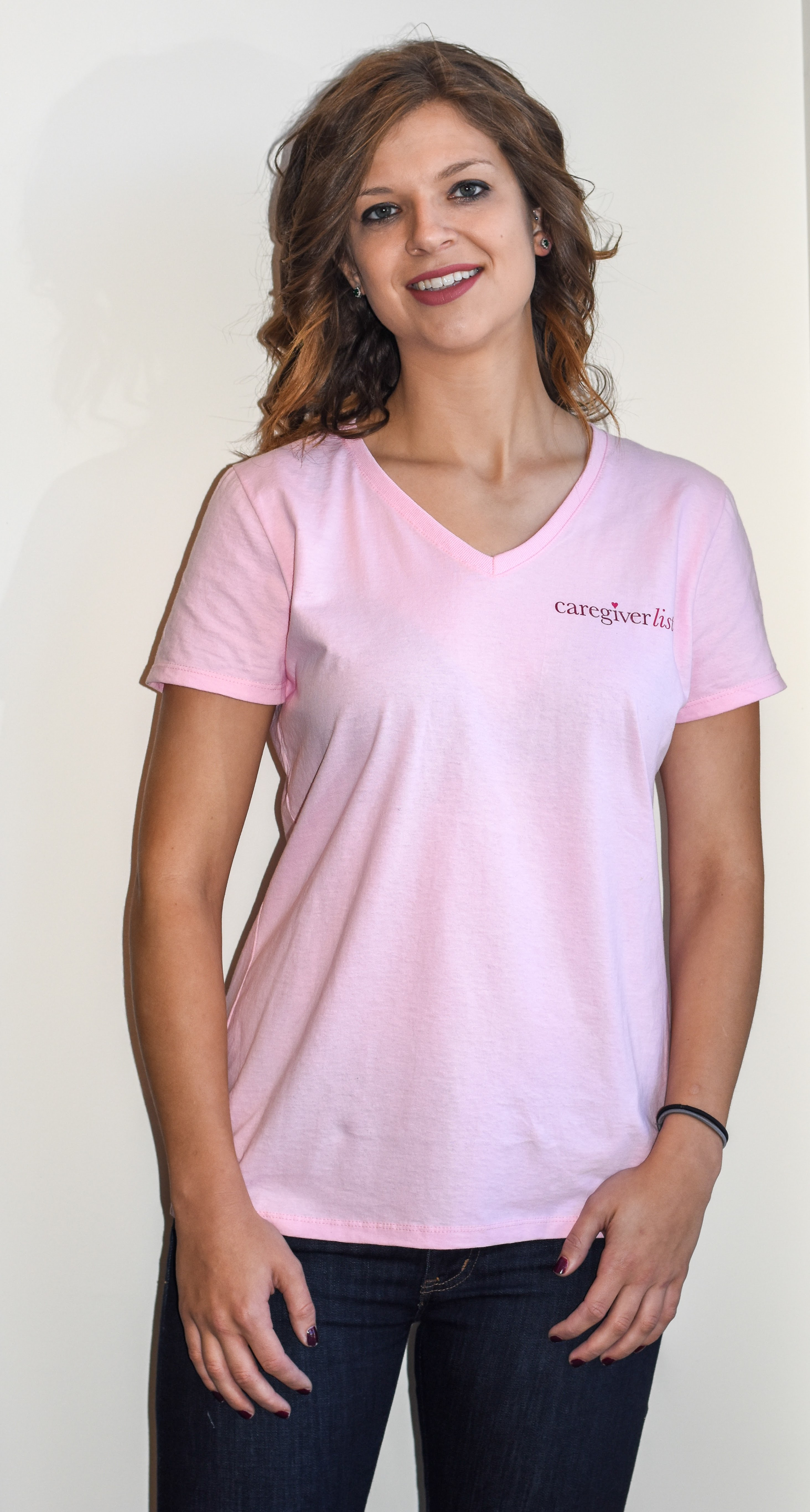 Pink Vneck Tshirt for professional association of caregivers