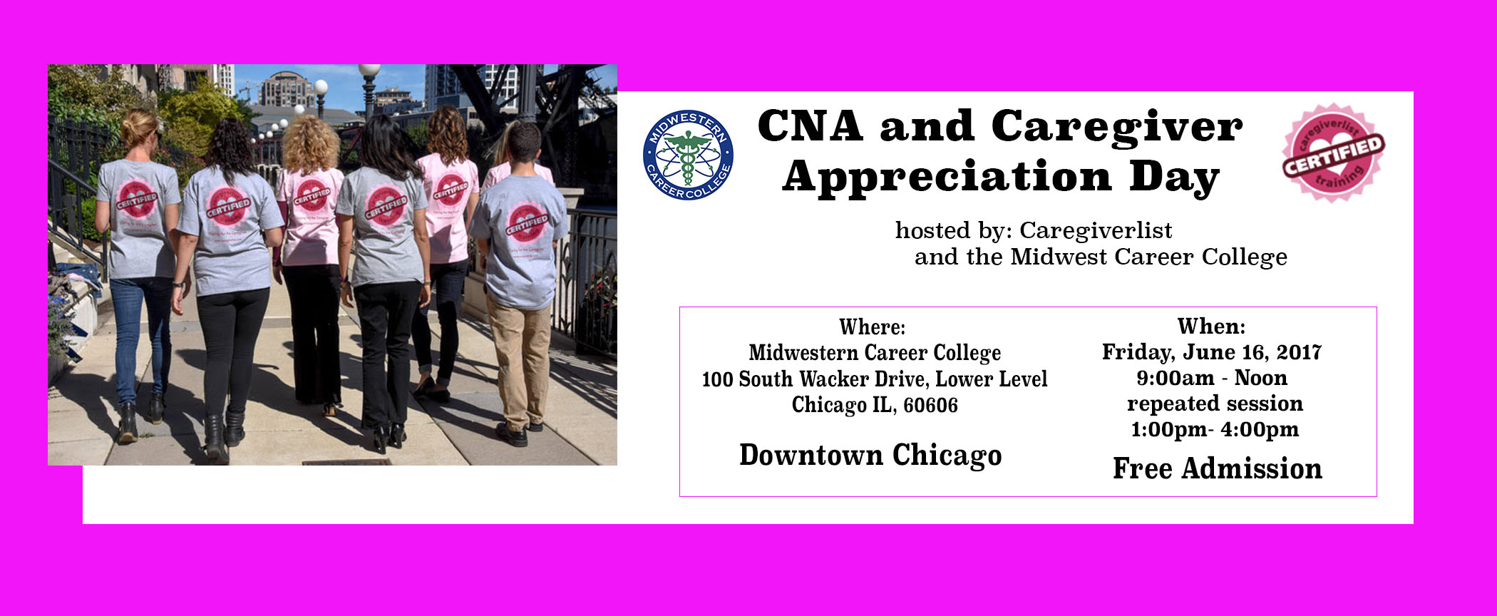 Chicago Certified Nursing Assistant And Caregiver Free Appreciation